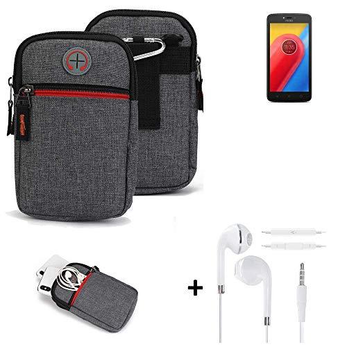 K-S-Trade® Gürtel-Tasche + Kopfhörer Für Lenovo Moto C LTE Handy-Tasche Holster Schutz-hülle Grau Zusatzfächer 1x