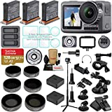 DJI OSMO Action Camera Bundle with 3 Batteries, Charging Hub, Adjustable Polarizer Filter Set, SD Card, Extension Rod/Selfie Stick, Tripod & Must Have Accessories (14 Items)