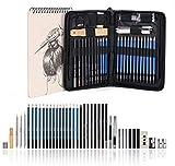 """AGPTEK 41tlg Zeichenset - Bleistifte Skizzierstifte Set mit einem 60 Blatt Zeichenblock, 5H-8B Künstlerset im Reißverschluss Etui, Zeichnung Zubehör Set für Künstler, Anfänger, Schüler -""""MEHRWEG"""""""