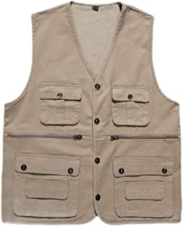neveraway Mens Casual Photography Button V Neck Multi-Pockets Outwear Waistcoat