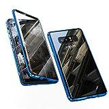 Jonwelsy Funda para Samsung Galaxy Note 8, Adsorción Magnética Parachoques de Metal con 360 Grados Protección Case Cover Transparente Ambos Lados Vidrio Templado Cubierta para Note 8 (Azul)