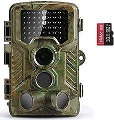 CAMÉRA WILD COOLIFE Photo 21MP 1080P HD caméra de chasse Vision nocturne Détecteur de mouvement IP66 Capteur infrarouge étanche et étanche à 3 zones 125 ° Grand angle Caméra de vision nocturne avec carte mémoire 32G