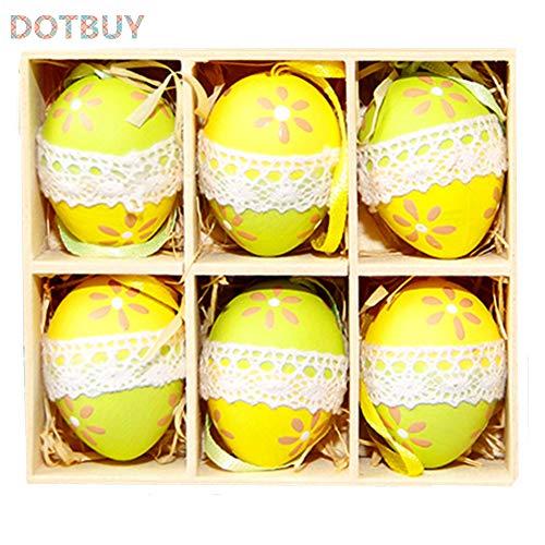 DOTBUY Pasqua Decorazioni da Appendere, Bambini Casa Uova Coniglietto Tavola Giardino Legno/Ceramica Bambini Pizzo Decorazione di Festa Pasquali