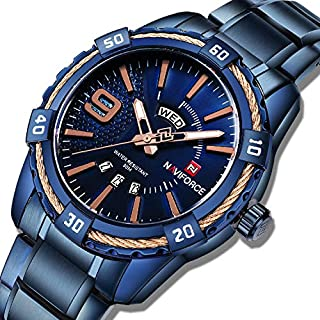ساعة كلاسيكية بمينا ازرق وسوار من الجلد الاصلي وعرض انالوج للرجال من نافي فورس، موديل NF9117S-BEBE