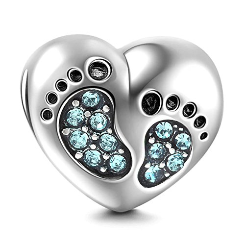 Baby Footprints Bracelet Charms - 925 Sterling Silver Pendant, Heart Birthstone plated Crystals - Mini Beads Fit Pandora Charm Bracelets, Necklaces, European Snake Chains, Gift to New Mom/Child(Ocean)