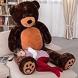 VERCART Orsacchiotto di Peluche Gigante XXXL Orso Bambola Morbida Regalo di Compleanno Fidanzata Natale Adulto Bambina Marrone Scuro 183cm