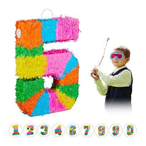 Relaxdays 10025189_907 Pinata Geburtstag, Zahl 5, zum Aufhängen, Kinder & Erwachsene, Papier, zum selbst Befüllen, Piñata, bunt