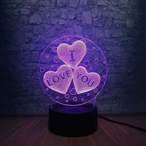 Solo 1 pieza Romántico I LOVE YOU3 Sweet Heart 3D LED USB Lámpara Atmósfera Estado de ánimo 7 colores Cambio de luz nocturna Amante Regalo de cumpleaños Decoración para el hogar