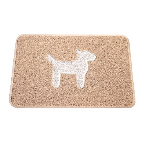 SMARTCATCHER Modern Collection Dog-Themed Doormat, 36'x24', Latte and Cool White