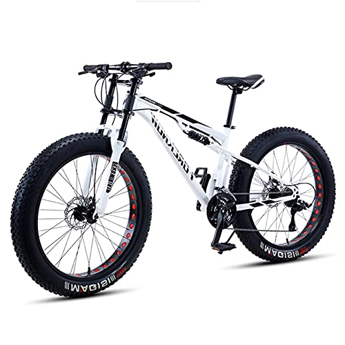 QMMD Fat Tire Mountain Bike 26 Inch Full Suspension Mountain Bike 21/27 Speed High-Tensile Carbon Steel Frame MTB Dual Disc Brake Mountain Bicycle for Men and Women Multiple Colors,White,21 Speed