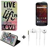 K-S-Trade Schutzhülle Für Caterpillar Cat S61 Schutz Hülle 360° Wallet Hülle ''live Life Love'' Schutzhülle Handy Tasche Handyhülle Etui Smartphone Flip Cover Standfunktion Ohrstöpsel