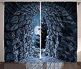 ABAKUHAUS gótico Cortinas, Cueva Oscura de la Luna Llena, Sala de Estar Dormitorio Cortinas Ventana Set de Dos Paños, 280 x 245 cm, Gris Azulado