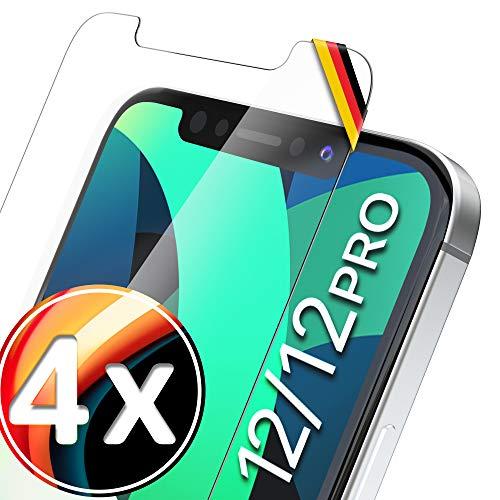 UTECTION 4X Vetro temperato per iPhone 12/12 PRO (6.1'), Applicazione Perfetta Grazie al Telaio, Protezione per Lo Schermo in Vetro 9H, Protezione Frontale – Pellicola Protettiva in Vetro temperato