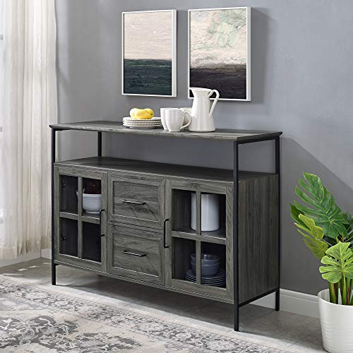 Walker Edison Furniture Company Industrial 3-Door Buffet Sideboard for Kitchen Dining Room, 48, Slate Gray