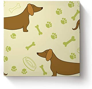 YEHO Art Gallery Square Canvas Wall Art Artwork Office Home Decor for Christmas,Cute Dachshund with Bone Yellow Gallery Wrap Pictures,Stretched by Wooden Frame,Ready to Hang,20x20 Inch