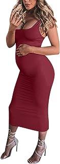 2ecf3588ce50a Winsummer Sexy Maternity Tank Bodycon Dress Summer Sleeveless Mama Maxi  Dress Pregnancy Baby Shower Dress