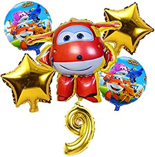 HOT-Ballons & Accessories - 6Pcs 3D Super Wings Balloon Jett balloons Super Wings toys Birthday Party 32 inch Number Decor...