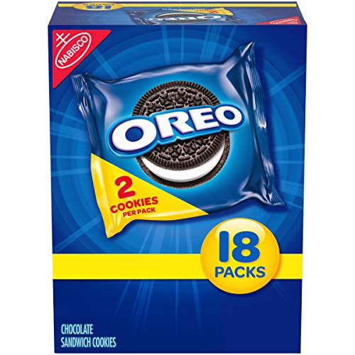 OREO Chocolate Sandwich Cookies, 18 Snack Packs (2 Cookies Per Pack)