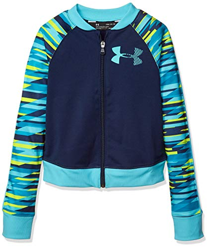 Under Armour Girls' Graphic Track Jacket, Academy (408)/Venetian Blue, Youth Large