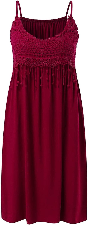 Women Fashion O-Neck Kansas City Mall Lace Sling Dress Sleeveless Camisole Solid Classic
