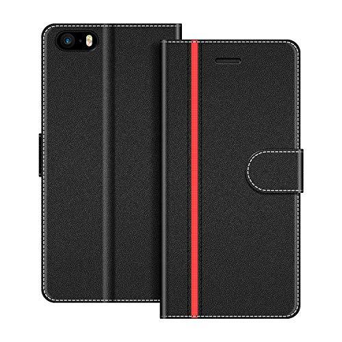 COODIO Handyhülle für iPhone 5S Handy Hülle, iPhone SE Hülle Leder Handytasche für iPhone SE/iPhone 5S / iPhone 5 Klapphülle Tasche (Nicht kompatibel mit iPhone SE 2020), Schwarz/Rot