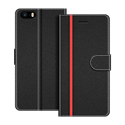 COODIO Custodia per iPhone 5S, Custodia in Pelle iPhone SE, Cover a Libro iPhone 5 Magnetica Portafoglio per iPhone SE/iPhone 5S / iPhone 5 Cover(Non Compatibile con iPhone SE 2020), Nero/Rosso