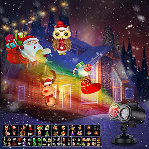 Xhaus - Luces de proyector de Navidad 2 en 1, 2 en 1, luz LED impermeable para interiores y exteriores, para Halloween, Navidad, día...
