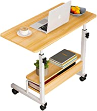Pillarmax 80 x 40 Laptop Desk End Table with 2-Tier Storage Shelves & Wheels, Bedside Overbed Couch Snack Lazy Table, Work...