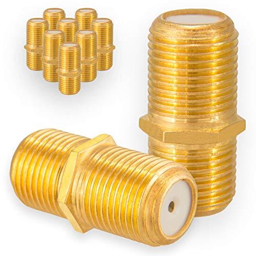 HB-DIGITAL 10x F-Verbinder Buchse/Buchse Vergoldet HQ für F-Stecker jeder Größe 4-8,2mm für Koaxial Antennenkabel Sat Kabel BK Anlagen