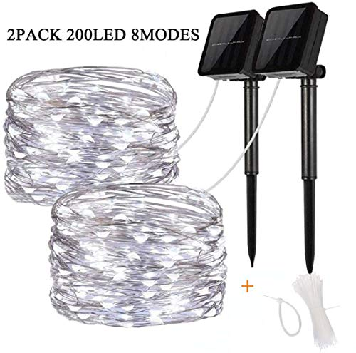 Solar Powered String Lights Outdoor - 2 Pack 8 Modes 200LED Solar Fairy Lights Waterproof 66ft Indoor String Lights for Home Patio Garden Gate Yard Party Wedding Decoration (White)