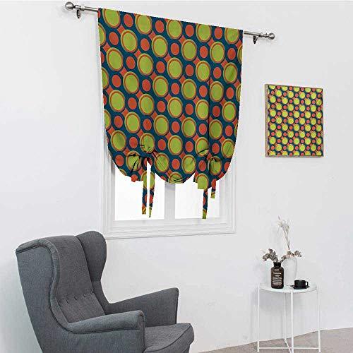Persianas retro para ventanas, patrón de lunares con círculos naranjas y verdes en dirección diagonal, cortinas romanas, azul naranja y amarillo verde, 48 pulgadas x 64 pulgadas