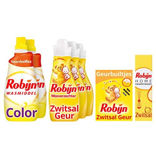 Robijn Zwitsal Was & Geurpakket - Wasmiddel, Wasverzachter, Geurbuiltjes en Geurstokjes