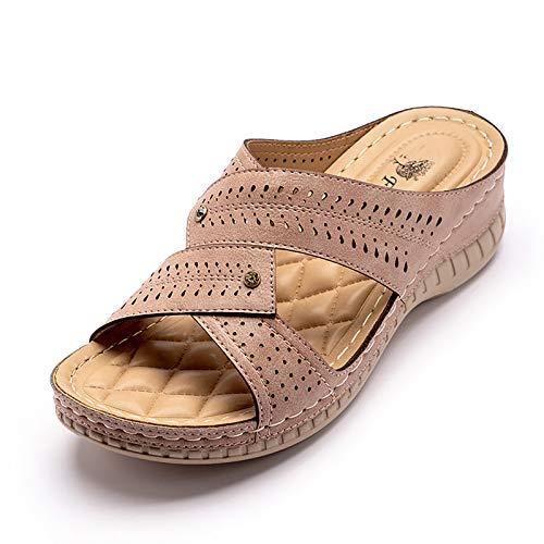 OJBK Mujeres Sandalias de Verano Plataforma Boho Zapatos de Dedo Abierto Correa de Tobillo Comodidad Amplio Dedo Abierto Gladiador Playa Fiesta Sandalias Planas,Rosado,36