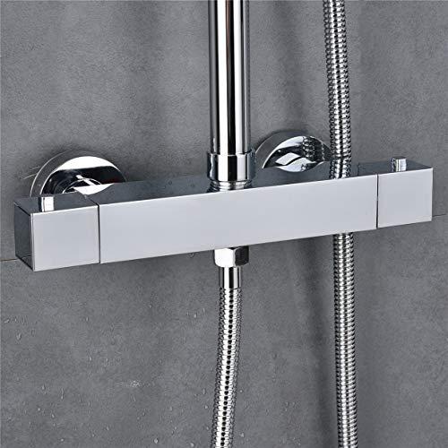 Solepearl Duschthermostat, Brausethermostat Brausearmatur Mischbatterie für Dusche mit Temperatur und Durchflusseinstellun, Chrom