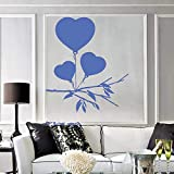 Etiqueta de la pared del arte romántico para los globos del corazón del dibujo del dormitorio para San Valentín Regalo único Vinilo Tatuajes de pared Decoración Sala de estar color-2 42x48cm