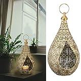 Cepewa Laterne Windlicht aus Metall Größe M im Mandaladesign mit Glaseinsatz Gartendeko Wohndeko (1 x Laterne M Mandala)