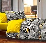 Couette 1 personne New York 100 % coton, produit italien, jaune et gris