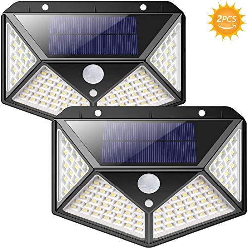 Solarleuchten für Außen,100LED Solar Sicherheitsleuchten Mit Bewegungssensor, 【Superhell 1800mAh】 270 ° Solarleuchten Wandleuchten Wasserdicht mit 3 Modi für den Außenbereich [Energieklasse A ++]
