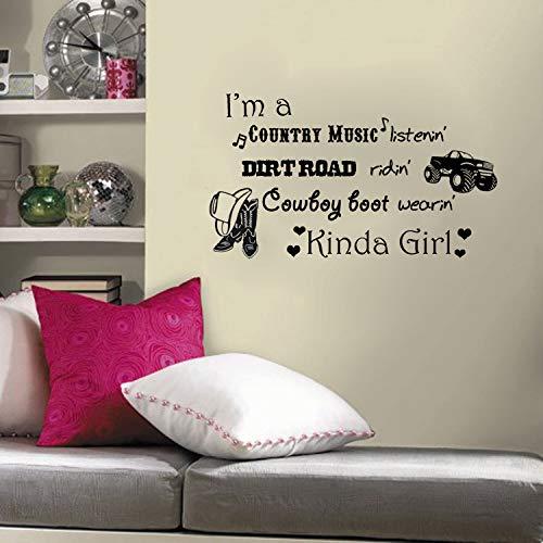 Im a Country Music Listenin Cowboy Boot Wearin Kinda Girl Sticker mural Inscription « Im a Country Music Listenin »