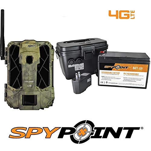 SPYPOINT Link-Dark-V Cellular MMS Trail Camera 4G LTE with Rechargeable Battery KIT-12V 2 Year Camera Warranty Deluxe Trail Camera Package(4G Camera, 12V Power Kit)