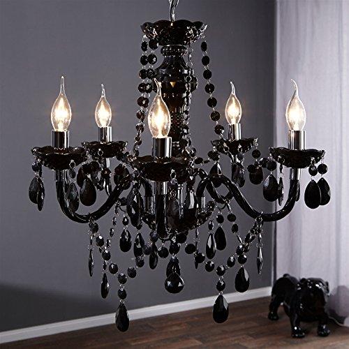 Lustre de luxe «Elegance» avec cristaux en acrylique - 5branches, Noir Ø 54cm