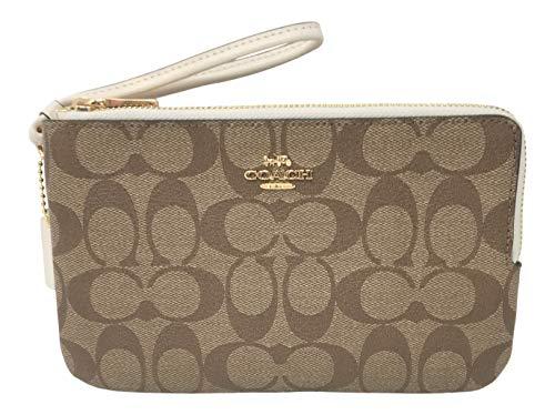 Coach Signature PVC Double Zip Wallet Wristlet, Khaki Chalk, Large
