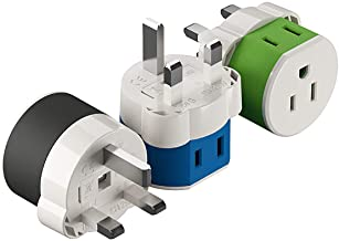 Best UK, Ireland, Dubai Power Plug Adapter by OREI with 2 USA Inputs - Travel 3 Pack - Type G (US-7) Fuse Protected Safe Grounded Use with Cell Phones, Laptop, Camera Chargers, CPAP, and More Review