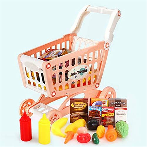 QuRRong Carrito de Compras de Juguetes Juguetes educativos Compras Supermercado Playset con Incluido comestibles de la Compra de Juguetes y Pretender Accesorios Alimentos para Niños y Niñas