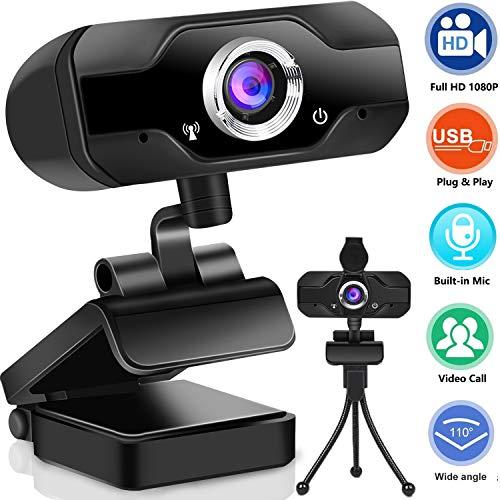 Webcam 1080P mit Mikrofon, PC Laptop Desktop USB 2.0 Full HD Webkamera mit automatisch Lichtkorrektur Autofokus für Laptop, Computer, PC, Live-Streaming, Videoanruf, Konferenz, Studieren, Spiele