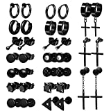 ONESING 17 Pairs Earrings for Men Black Stud Earrings Men Earrings Black Hoop Earrings Stainless Steel Cross Earrings Set Jewelry Piercings for Men Women