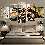 5 Piezas Cuadro sobre Lienzo De Fotos Taza De Café, Granos De Café HD Abstracta Pared Imágenes Modulares Sala De Estar Dormitorios Decoración para El Hogar 150X80Cm