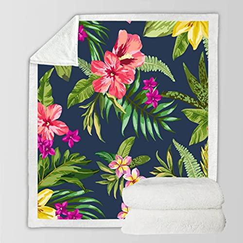 Manta de Felpa de Terciopelo Engrosado con Estampado Floral Colorido Manta de Sherpa con Estampado de Plantas en 3D, Manta de Sherpa para sofá, Dormitorio, Oficina, edredón Fino 150 * 200Cm