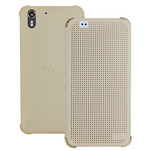 Heartly Dot View Touch Sensative Flip Thin Hard Shell Premium Bumper Back Case Cover for HTC Desire Eye - Mobile Gold