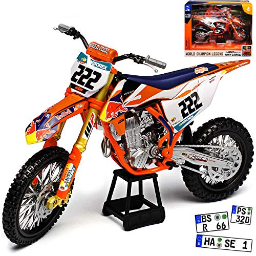 New Ray K-T-M 450 SX-F Tony Cairoli Nr 222 Red Bull 2018 Supercross-WM Enduro 1/10 Modell Motorrad